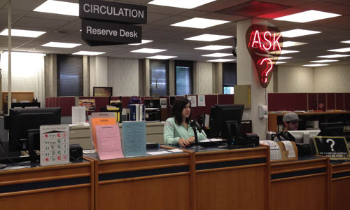 photograph of the circulation desk